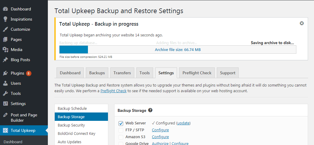 For large sites, backups can sometimes take a bit of time to complete. During backups, a progress bar is shown to keep you updated on the backup's status.