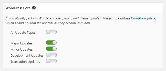 Take control of how WordPress automatically updates itself. Select whether to auto update for major updates, minor updates, development updates, and/or translation updates.