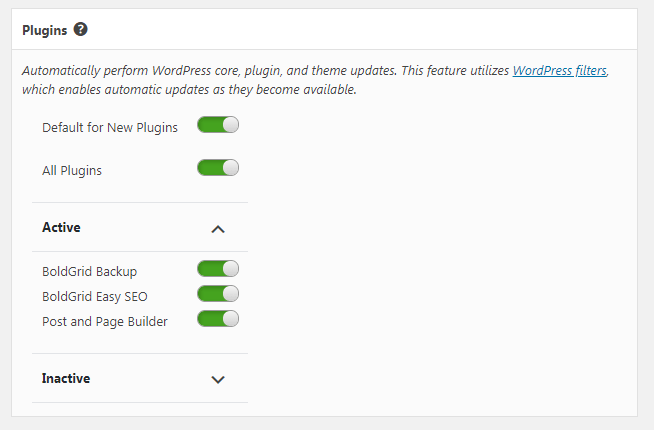 Select which of your plugins to have automatically updated when updates are available.