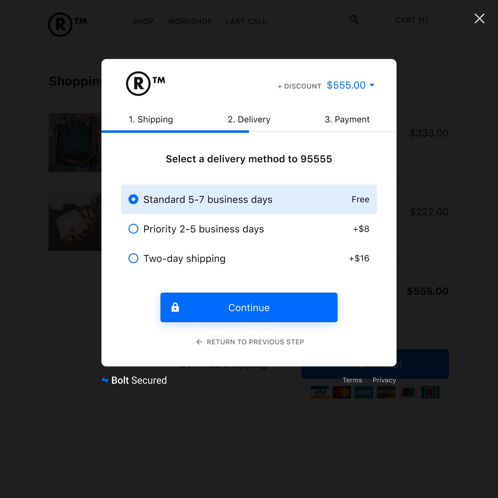 Desktop - Delivery Tab