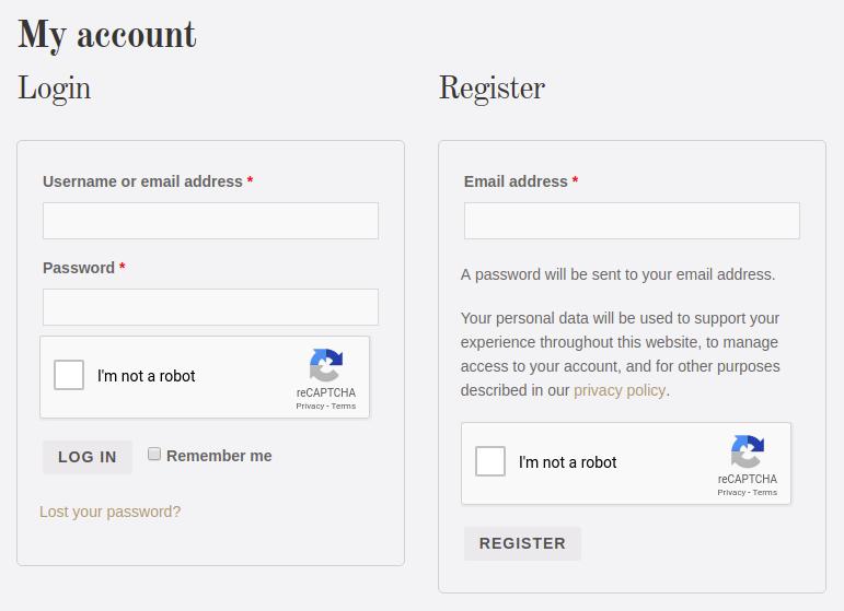 WooCommerce Login / Register Form.