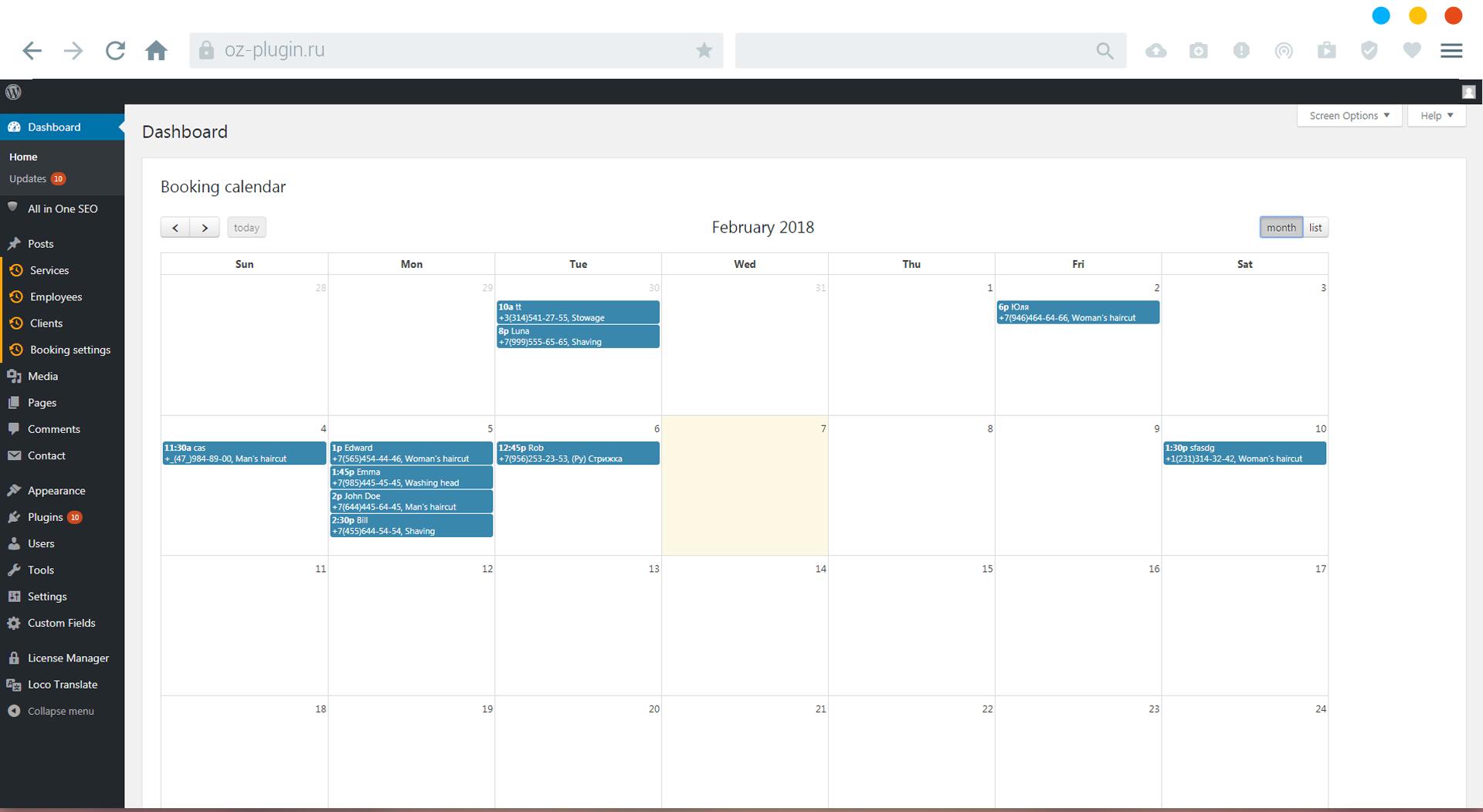 Dashboard WP. Calendar view