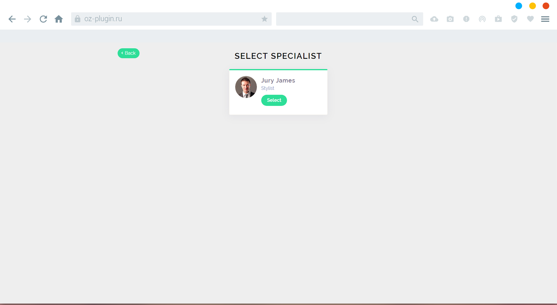 First step plugin. Select specialist
