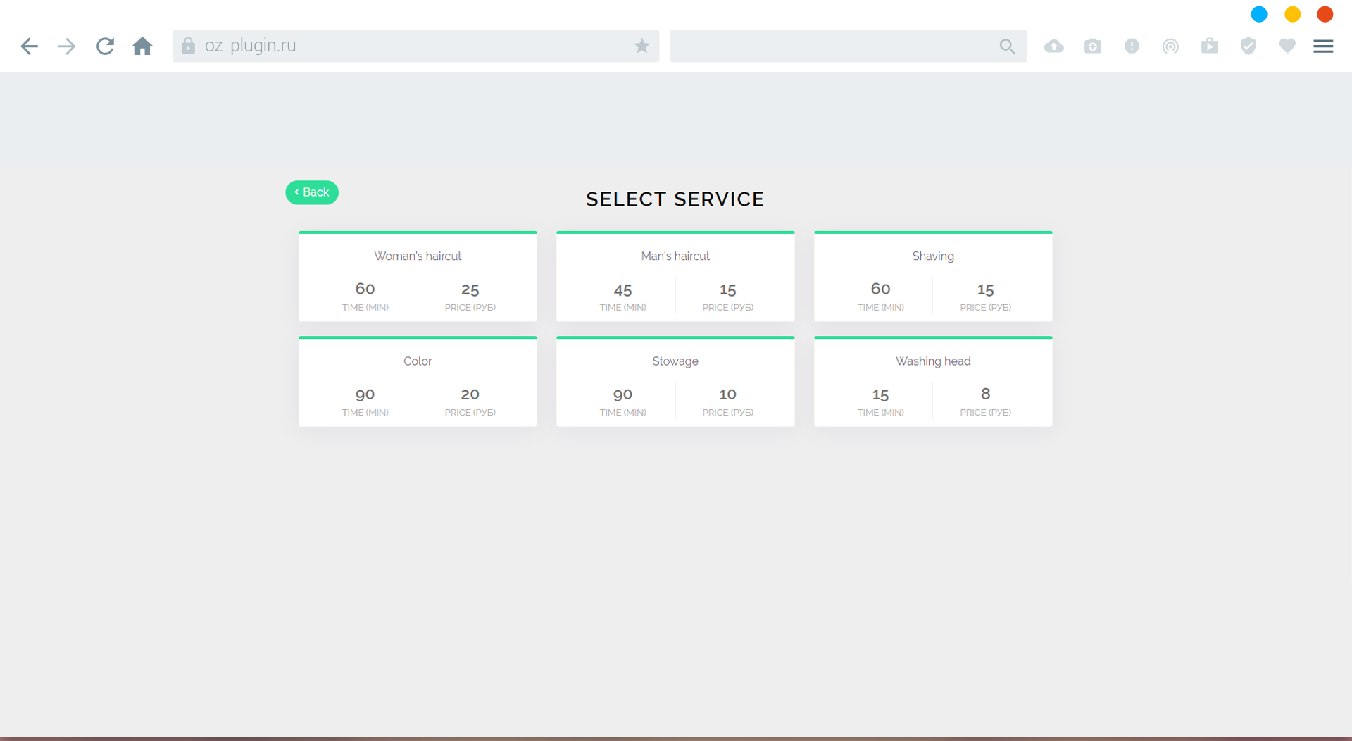 Fourth step. Select service