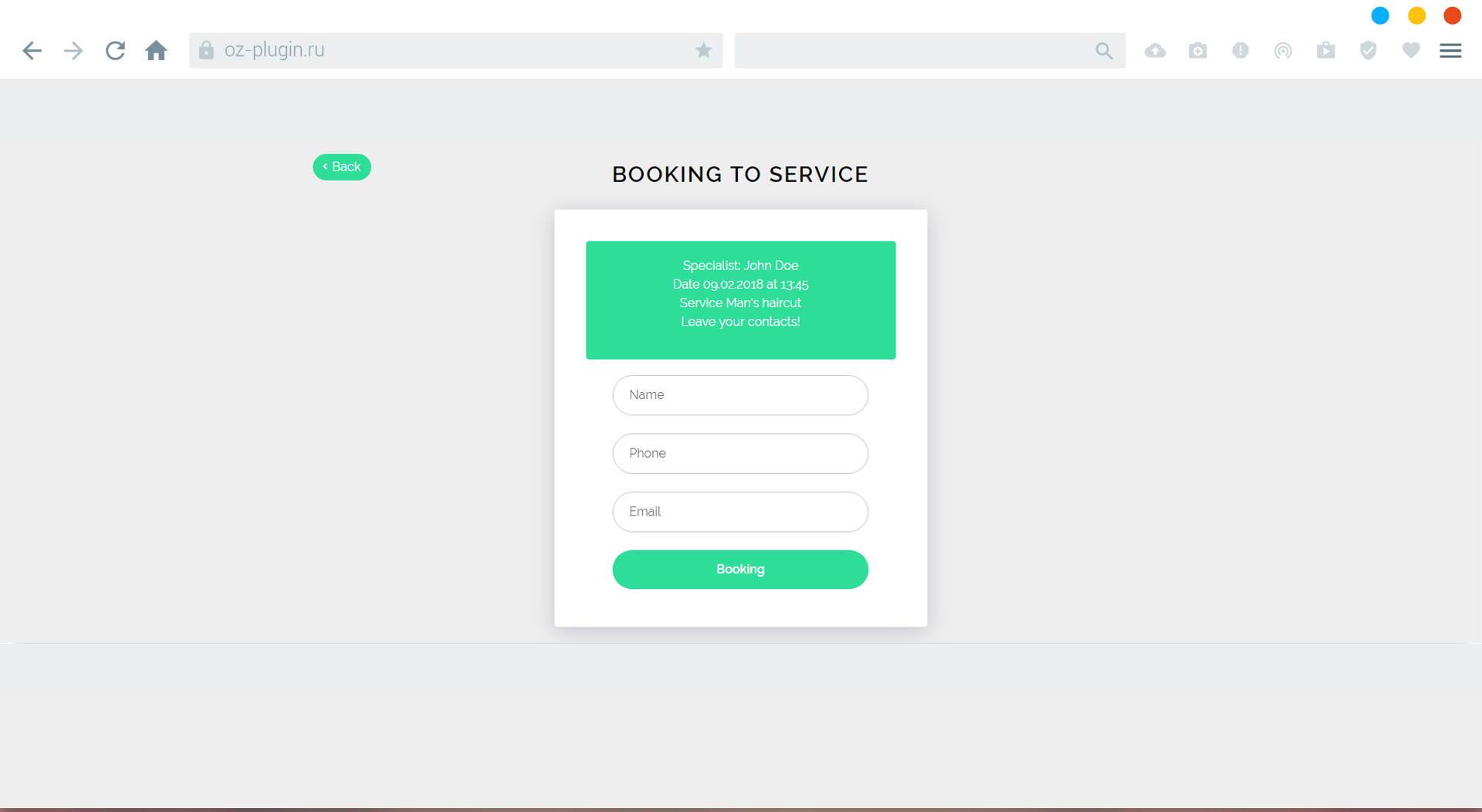 Fifth step. Booking form