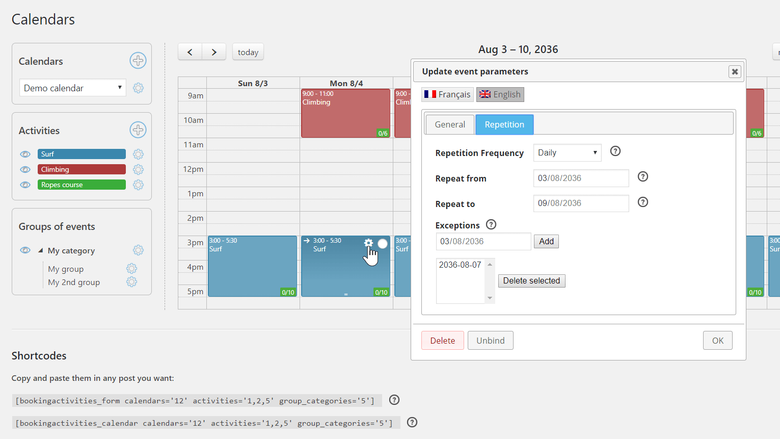 Create daily, weekly or monthly repeated events. You can add exception dates to the repetition.