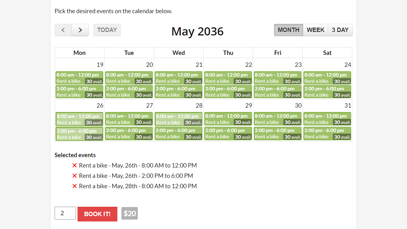 Easily bind a reservation form to a WooCommerce product. You can set a different event calendar to each variation.