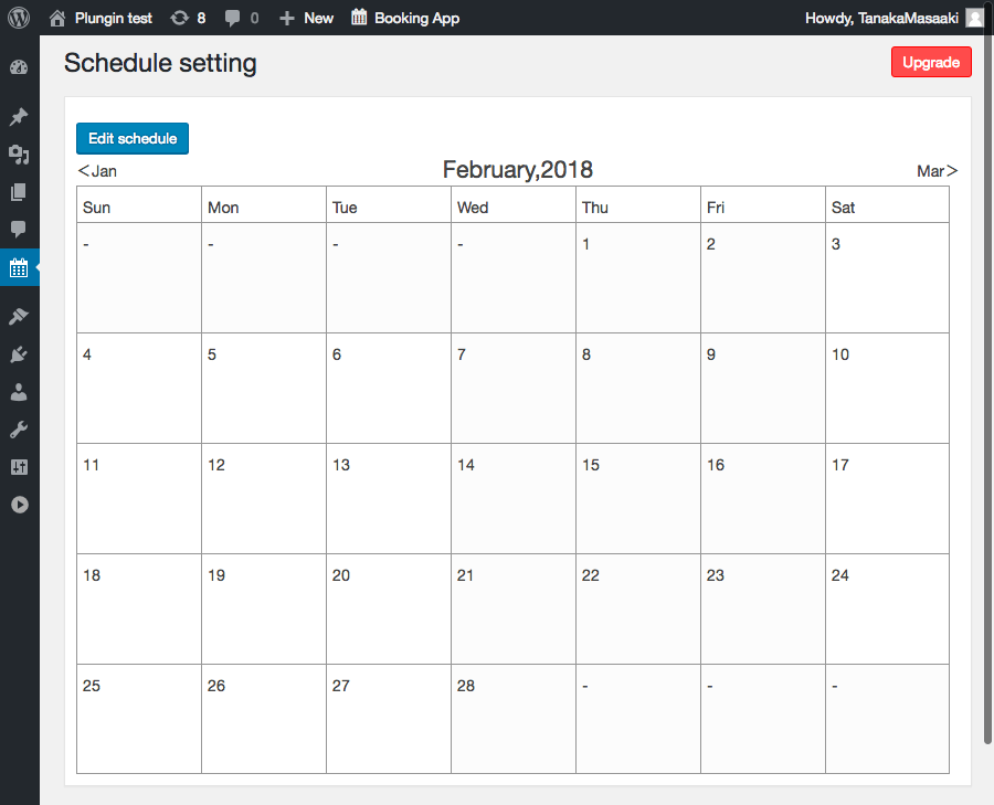 The calendar for setting a booking schedule.