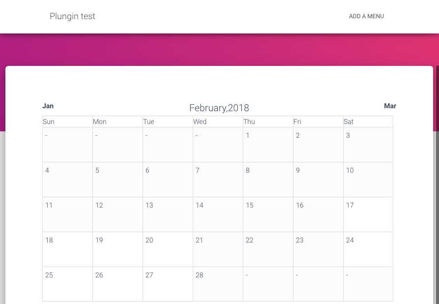 Booking calendar that the visitor sees first.