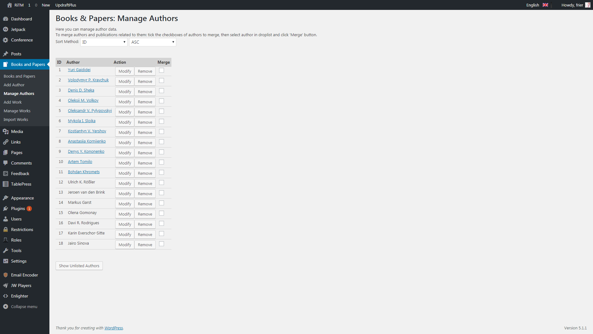Plugin's author management admin menu.