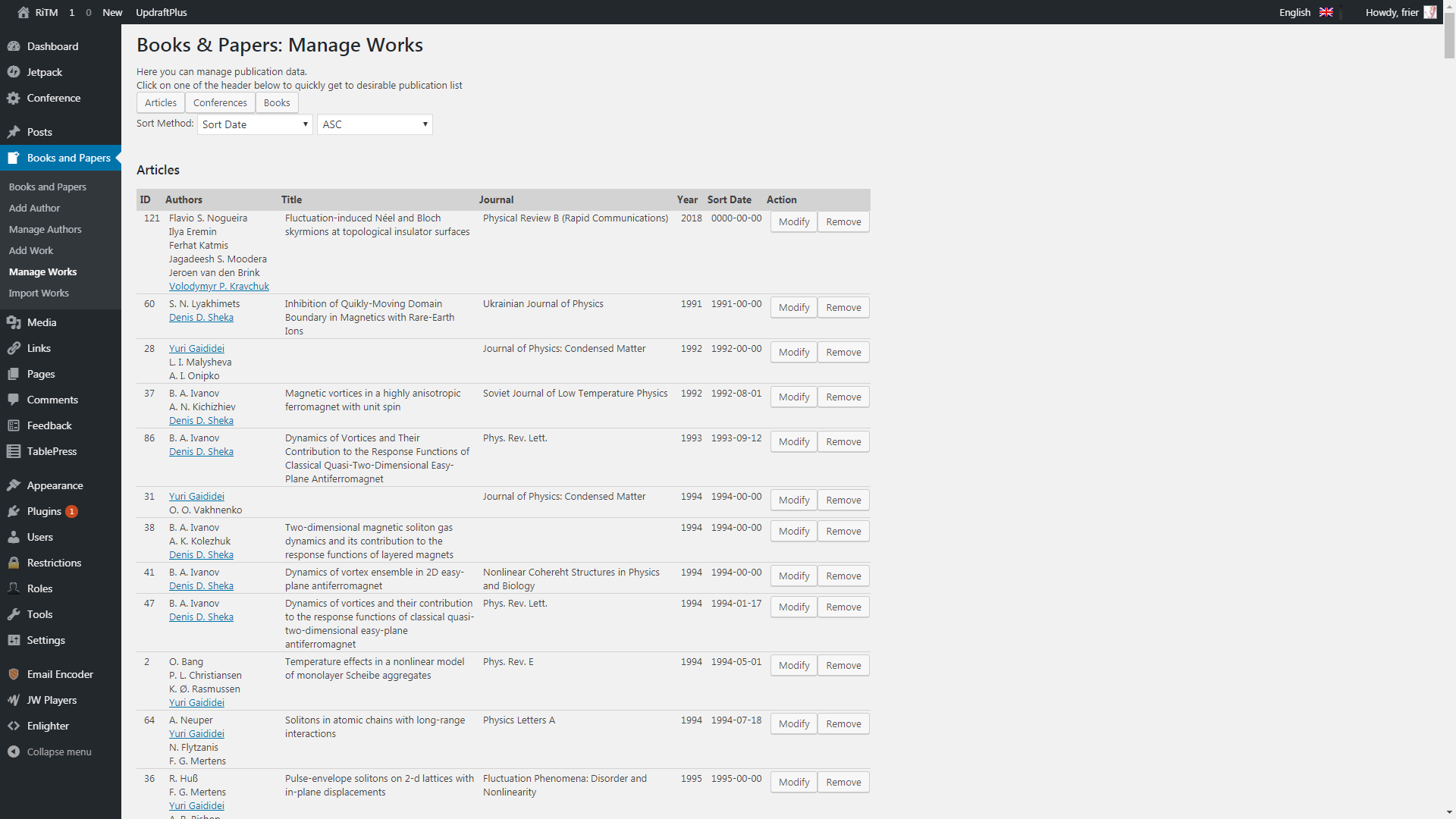 Plugin's works management admin menu.