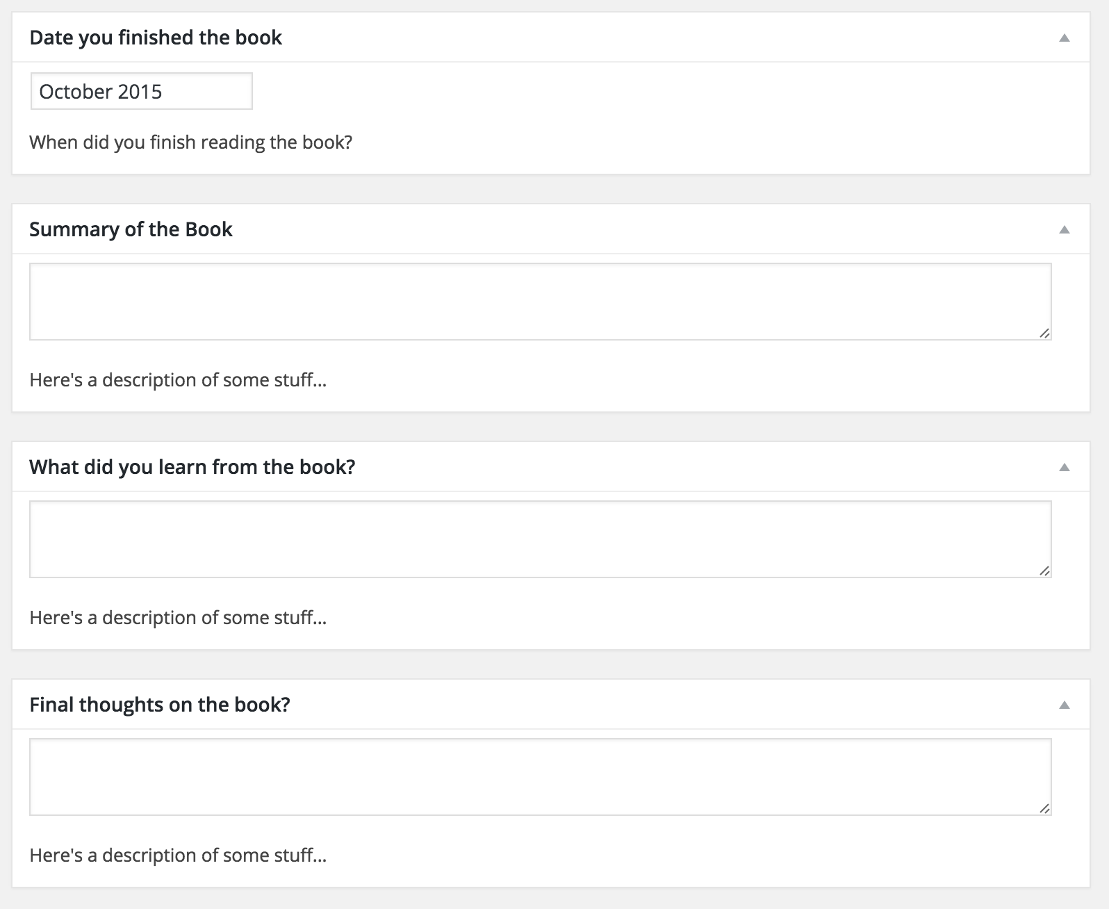 View of the prompts on the <code>Books Read</code> blog post type under <code>Add New</code>