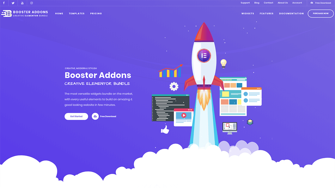 Welcome page of the Booster Addons admin panel.
