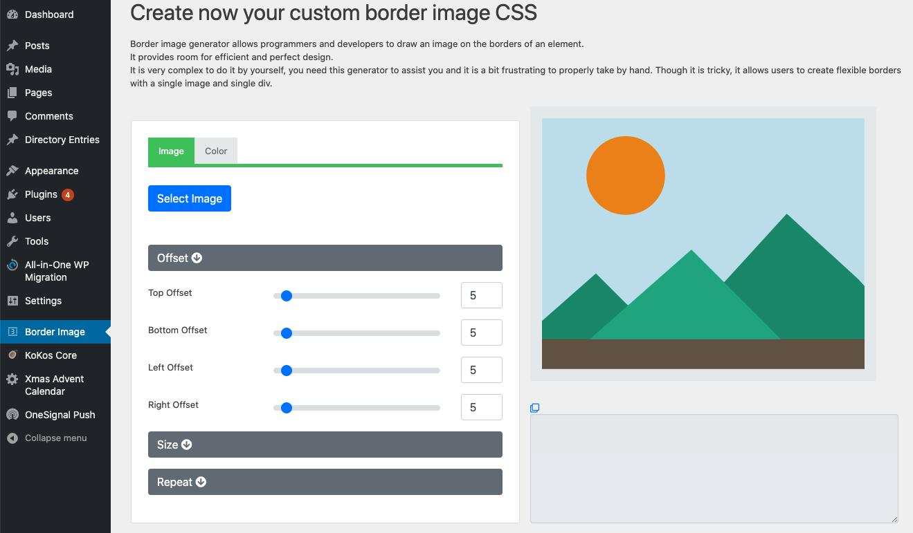 screenshot-1.jpg - Access the border image generator from the menu item on the left menu