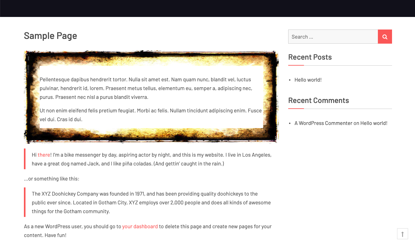 screenshot-3.jpg - Using the shortcode generated you can wrap any content in a border-image box