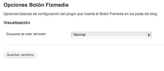 Esta es la página de opciones del botón Fixmedia / This is the options page of Fixmedia Button plugin.