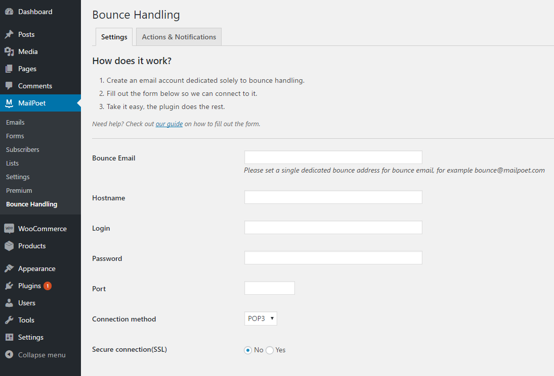 Bounce Handling Settings Page