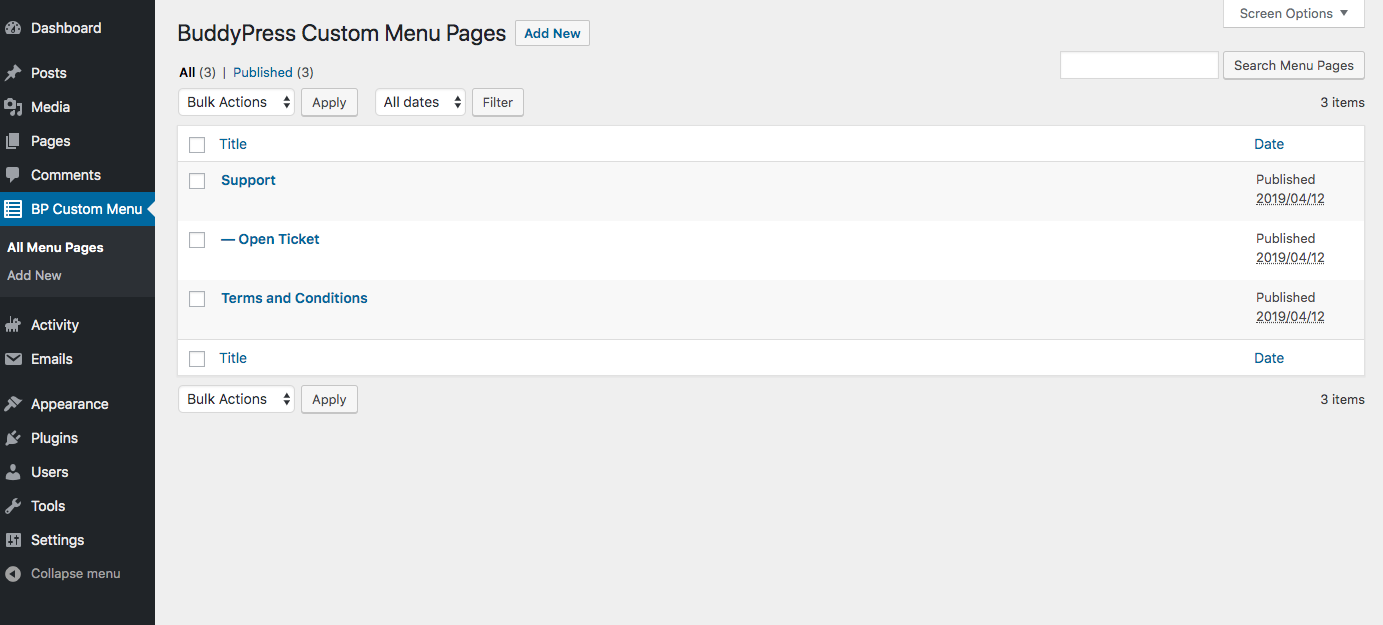The Custom Profile Menu for BuddyPress page list.