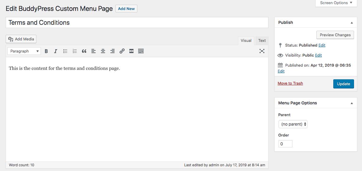 Edit screen for a parent menu page.