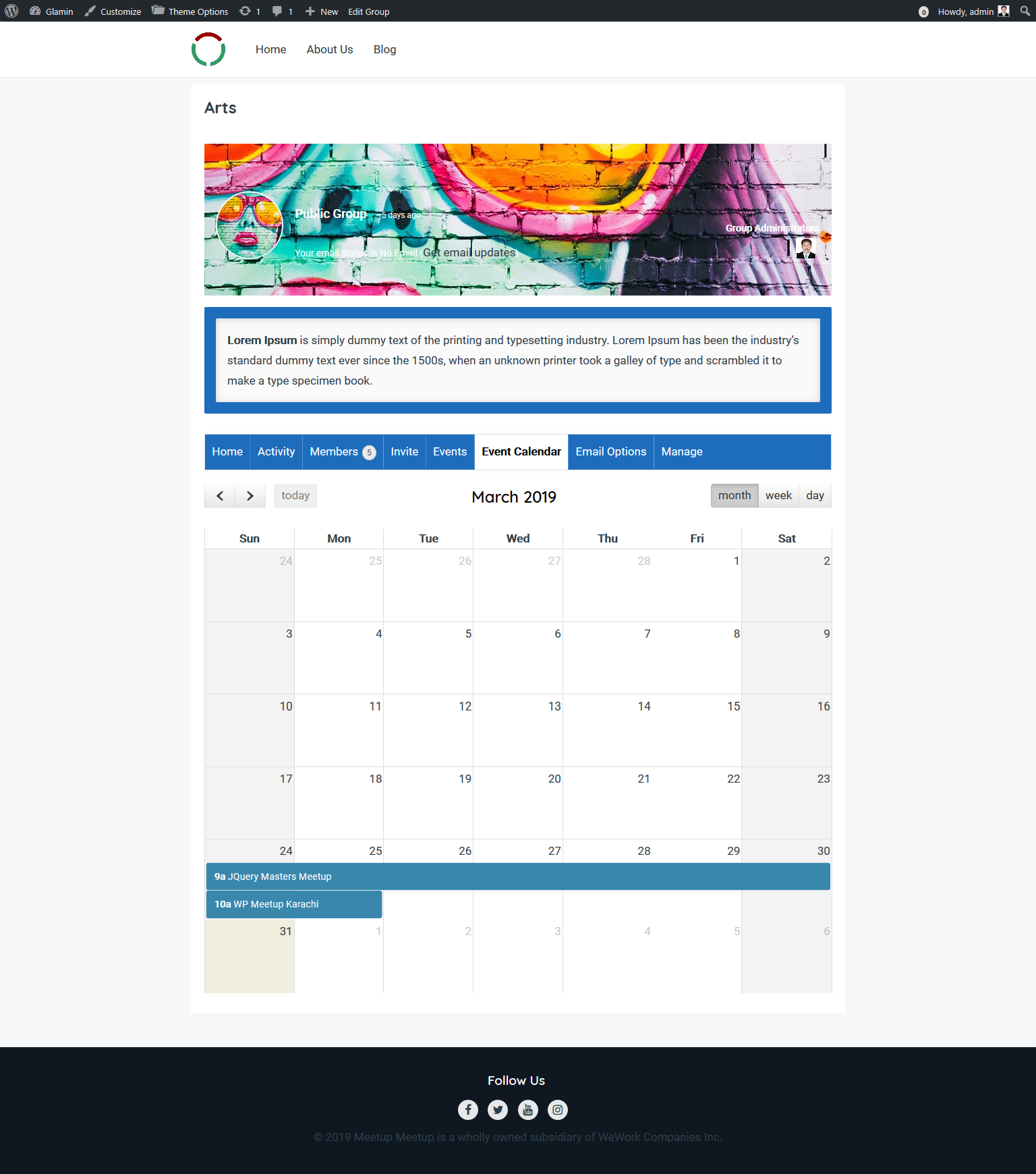 This is event calendar by group