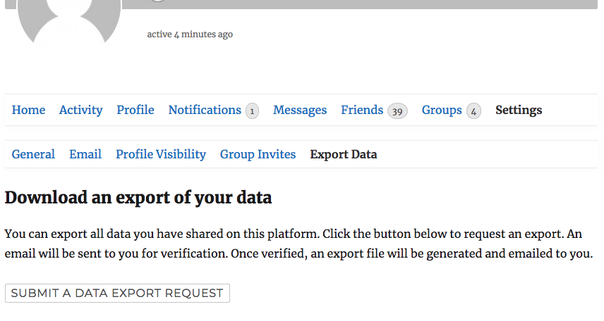 Export Data Request Page