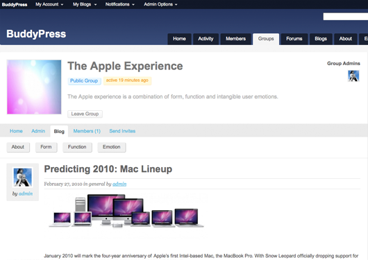 Screenshot of the group blog creation stage.