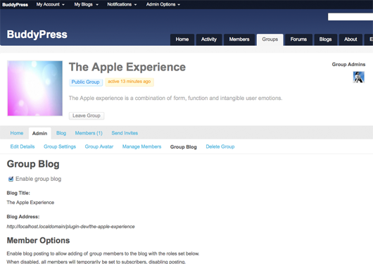 Screenshot of the group blog page.