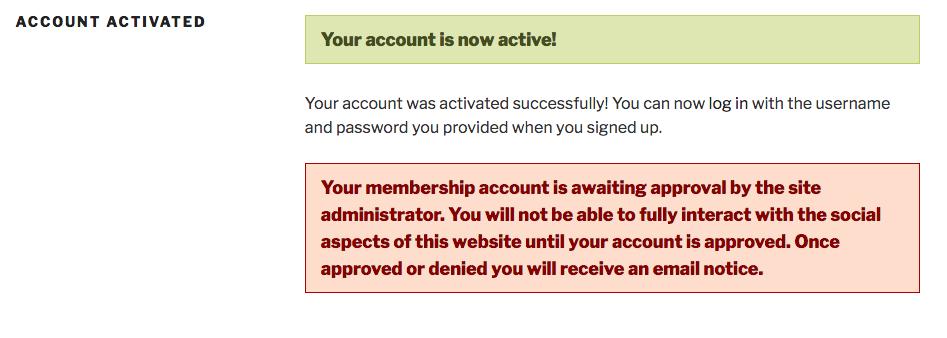 New member registration: