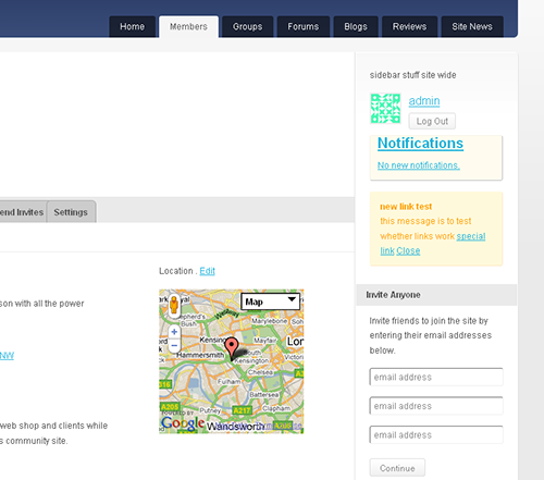 A view of a small map displayed floated right in the members public profile page.
