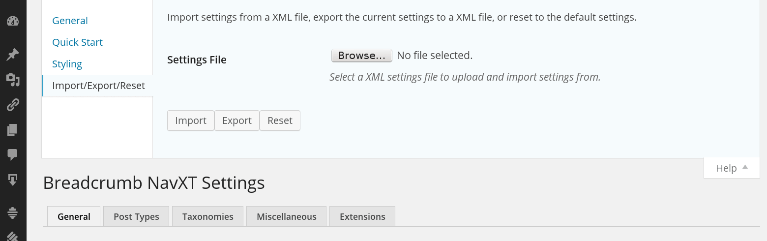 A screenshot of the Settings Import/Export/Reset form under the Help menu