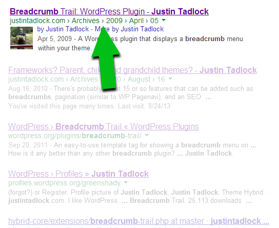 Breadcrumbs in Google search results.