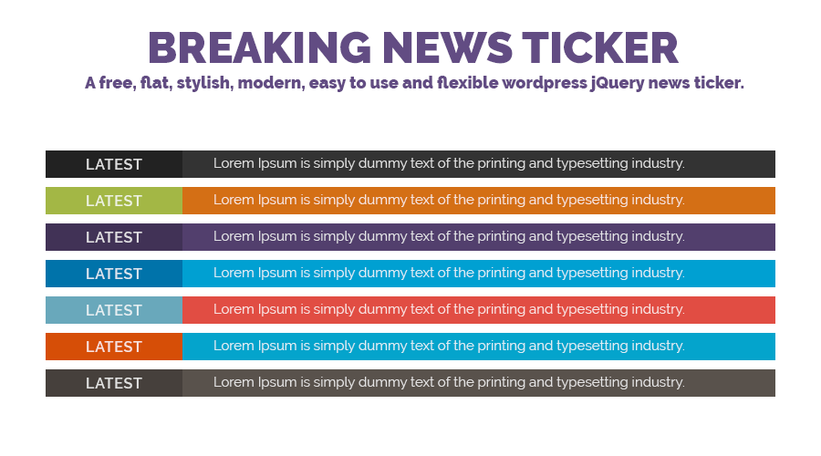 Breaking news ticker for Wordpress rss feed template