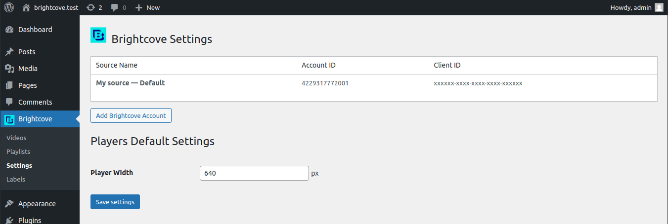 Settings page to add an account and set up the player width.