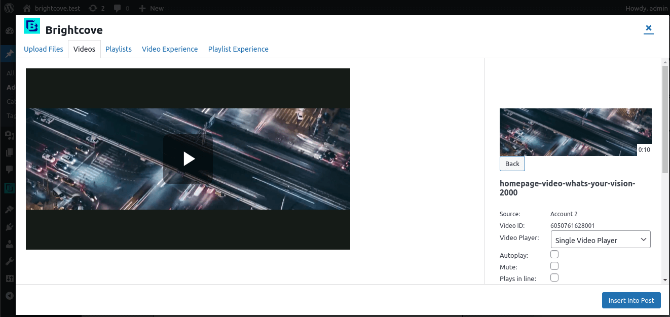 Video preview from video grid modal.