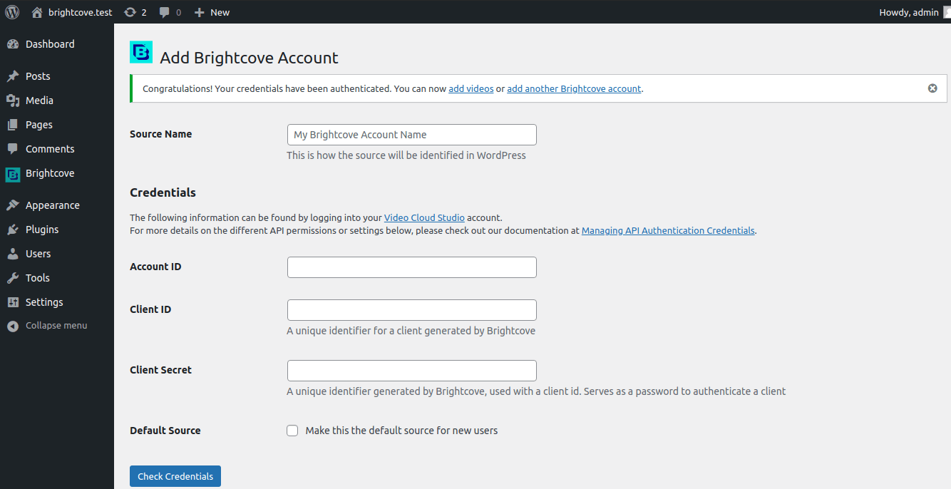 Successfully adding an account.