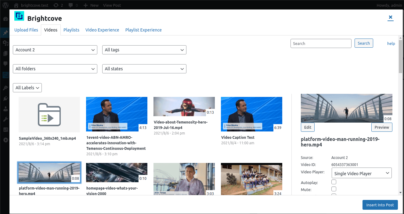 Modal Window, 1. Upload new files, 2. Current Tab, 3. Playlist Grid View.  4. Insert selected video as a shortcode into the post.