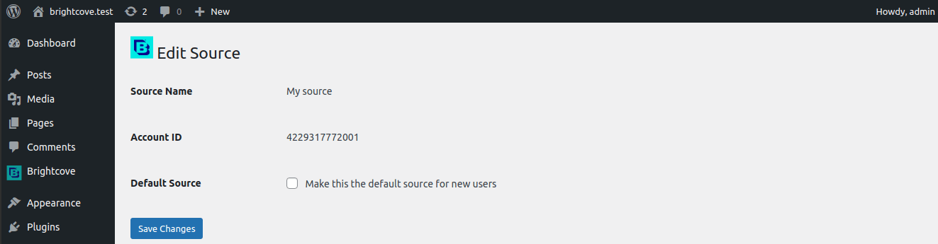 <ol> <li>Edit Source page, 1. Source name, 2. Account ID, 3. Make the source default</li></ol>