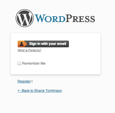 "Wordpress login with ""Disable Non-Persona authentication"""