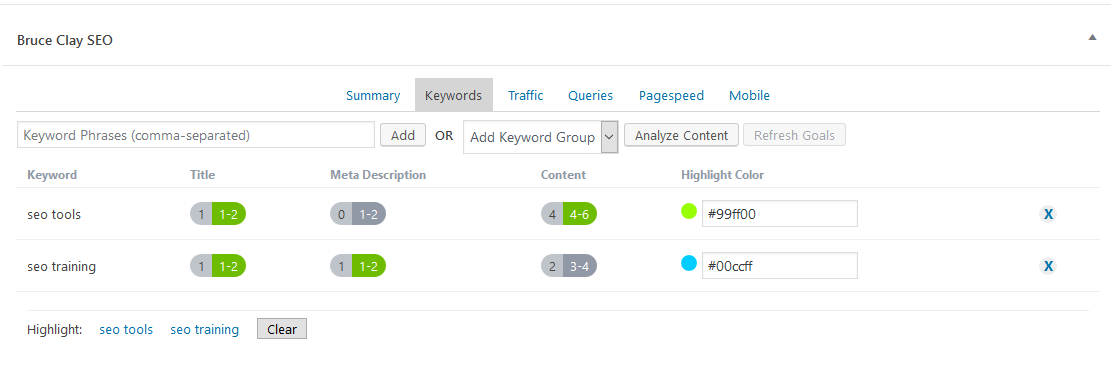 In the page editor, writers can assign multiple keywords per page. Bruce Clay SEO analyzes the top-ranking pages for each keyword to customize keyword usage recommendations per page. Green indicates when the usage targets are met. Keywords are analyzed and stored in the SEOToolSet®.