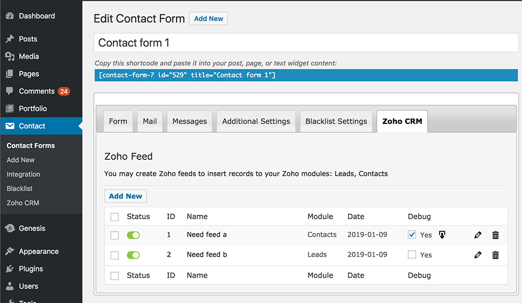 BSK Contact Form 7 to Zoho
