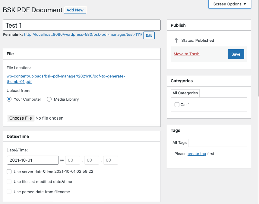 Admin interface of PDF documents