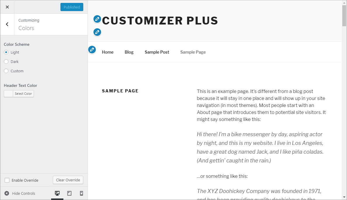 Customizer Plus Lite - override disabled