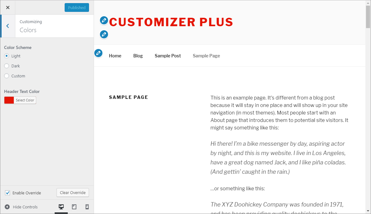 Customizer Plus Lite - override enabled