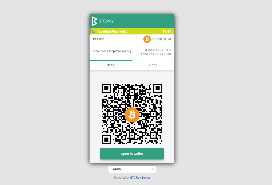 The BTCPay Server invoice. Your customers will see this at the checkout. They can pay from their wallet by scanning a QR or copy/pasting it manually into the wallet.