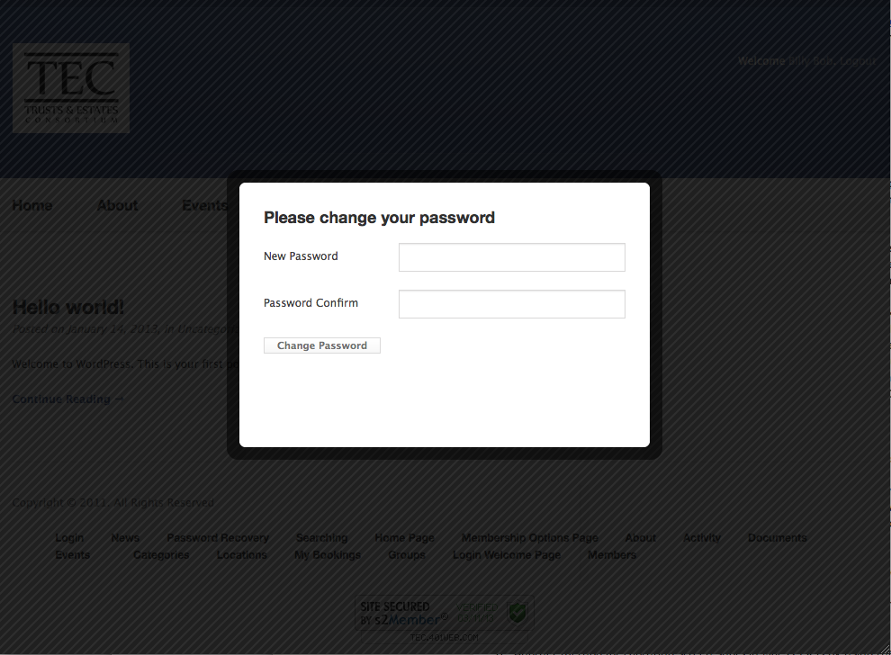 change password modal window