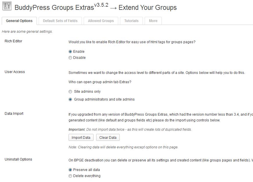 buddypress-groups-extras screenshot 1