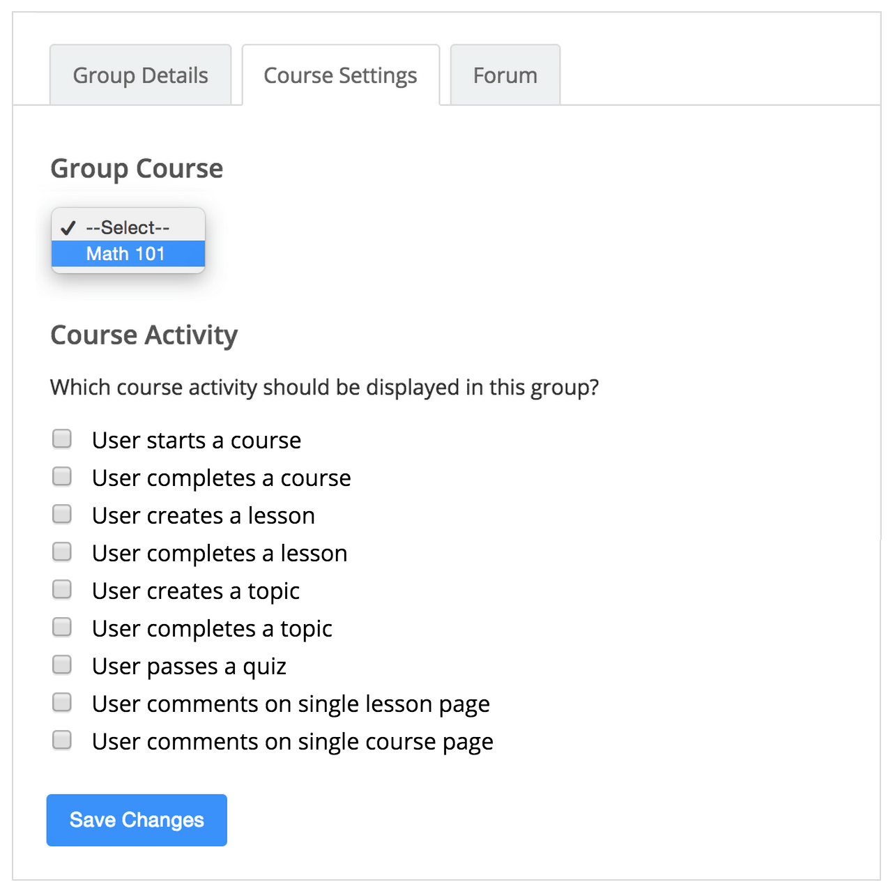<strong>Course Group Settings</strong> - Add a course to a BuddyPress group and configure its activity actions.