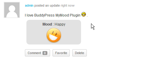 BuddyPress MyMood Mood in Activity Update.