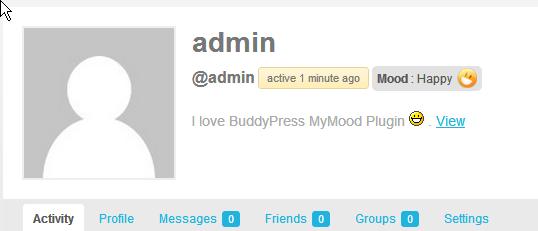 BuddyPress MyMood in Profile Header. 4.BuddyPress MyMood Admin page.