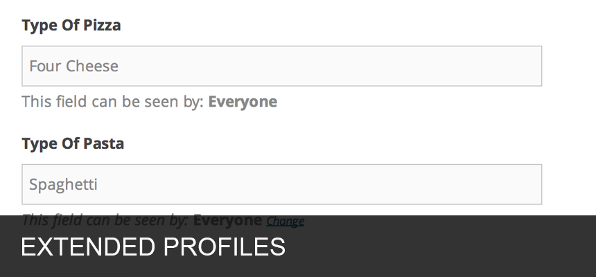 <strong>Extended Profiles</strong> - Fully editable profile fields allow you to define the fields users can fill in to describe themselves. Tailor profile fields to suit your audience.